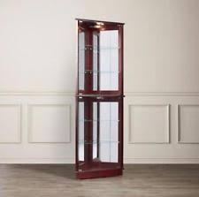 Wall Curio Cabinet Glass Doors Corner Curio Cabinet Glass Doors Oak Lighted Mirrored 4 Shelves Ebay