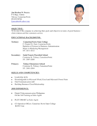 Objective In Resume Sample by Sample Resume Hrm