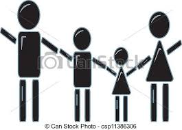 simple design of a stick figure family holding vector clipart