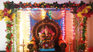 Home Ganpati Decoration ग र गणपत सज वट 2016 Gauri Ganpati Decoration