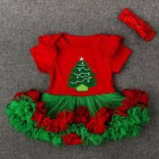2 piece christmas tree short sleeve tutu dress and headband set