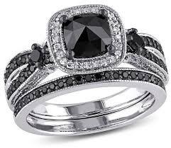 black diamond bridal set allura 1 1 2 ct t w black and white multi shape diamond bridal