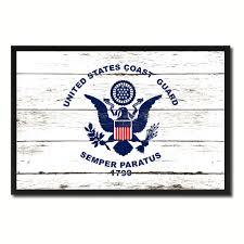 Vintage Flag Art Us Coast Guard Military Flag Vintage Canvas Print With Picture