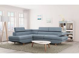 canape angle bleu canapé d angle style scandinave pieds bois avec revêtement tissu bleu