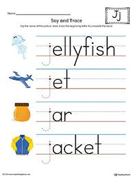 say and trace letter j beginning sound words worksheet color