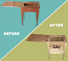 Sewing Machine With Table Sewing Machine Table To Bar Cart 7 Steps With Pictures