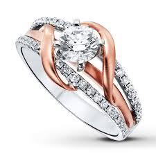 kay jewelers diamond engagement rings kayoutlet diamond engagement ring 1 ct tw round cut 14k two tone