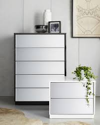 White Bedroom Bedside Cabinets The Louvre Mirrored Bedside Table And Tallboy Will Make A