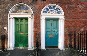 georgian architecture of dublin twin doors in green and blue