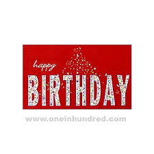 imprinted red happy birthday card with confetti inside letters on