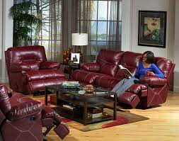 Red Recliner Sofa Cortez 2 Piece Dual Reclining Sofa Set In Dark Red Leather By