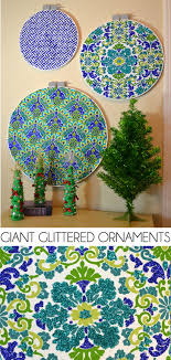 glittered ornaments from quilting hoops a bigger