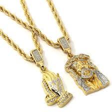 men gold necklace pendant images Mens gold two piece jesus prayer hand set pendant jpg
