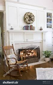 Living Room Rocking Chairs Cozy Fireplace Rocking Chair Stock Photo 16525252 Shutterstock