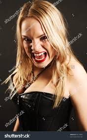 Harsh Lighting Photo Female Vampire Mouth Open Fangs Stock Photo 96177089