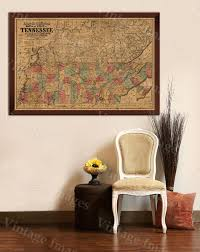 United States Map Wall Art by Old Map Of Tennessee 1862 Tennessee Map Vintage Restoration