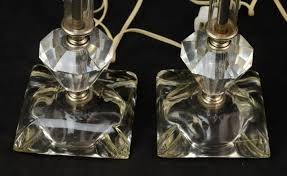 vintage hollywood regency stacked glass crystal boudoir table lamp