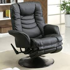 Black Leather Swivel Chairs Shop Coaster Fine Furniture Black Faux Leather Swiveling Recliner