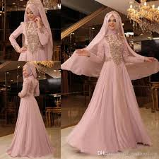 Pink Wedding Dresses With Sleeves Discount 2017 Islam Muslim High Neck Wedding Dresses Long Sleeves