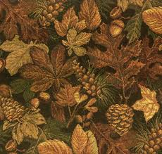 Tapestry Fabrics Upholstery Pine Cones And Leaves Tapestry Fabric Rustic Northwoods Fabric