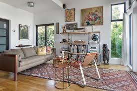 Mixing Leather And Fabric Sofas by Kilim Rugs In Living Room Scandinavian With Modern Brown Leather