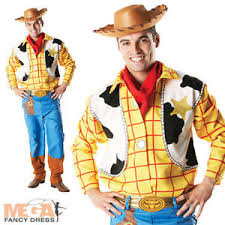 Mens Cowboy Halloween Costume Toy Story Woody Hat Mens Fancy Dress Disney Western Cowboy
