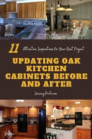 how do you update oak kitchen cabinets updating oak kitchen cabinets before and after 11