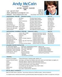 sample musical theatre resume acting resume generator resume