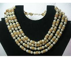 pearls beads necklace images Gorgeous 4 strand trifari necklace with textured gold and faux jpg
