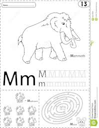 Free Alphabet Tracing Worksheets Cartoon Mammoth Mushroom And Mouse Alphabet Tracing Worksheet