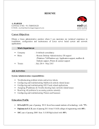 System Administrator Resume Samples by Linux Administrator Resume 1 Year Experience Vmware Linux