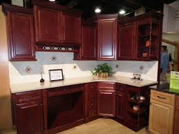 Tile Backsplash Ideas For Cherry Wood Cabinets Home by L Shaped Brown Varnished Wooden Cherry Kitchen Cabinet With White