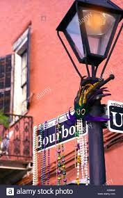 bourbon sign bourbon sign with mardi gras new orleans louisiana