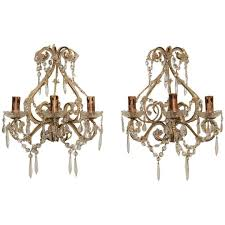 Vintage Crystal Sconces Pair Of 19th Century French Crystal Sconces Antique U0026 Vintage