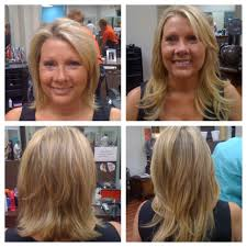 before and after extensions on blonde short hair long hair layered