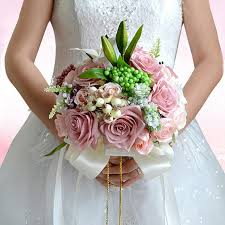 bridesmaid flowers holding flower beaded wedding bouquet pink