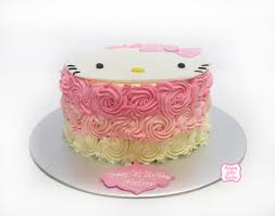 hello kitty cake with ombre buttercream swirls happy cake studio