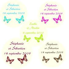 etiquettes mariage dragées autocollante papillon personnalisées mariage x30