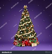 beautifully decorated christmas tree lights ribbons stock photo