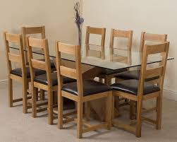 Light Oak Dining Chairs Valencia Oak 200cm Wood And Glass Dining Table With 8 Lincoln
