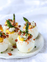 deviled egg serving dish blue deviled eggs with roasted garlic and asparagus