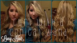 large hair how to curl with a conair conical wand hair