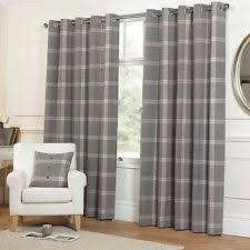 Dunelm Curtains Eyelet Highland Tartan Plaid Check Curtains With Ring Top Eyelets In Grey