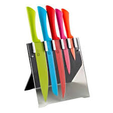 Coloured Kitchen Knives Richardson Sheffield Colour 5 Knife Block Dunelm