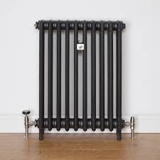 traditional 4 column cast iron radiator finished in matt black and