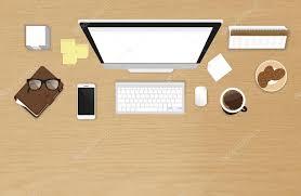 Work Desk Organization Realistic Work Desk Organization Top View With Textured Table