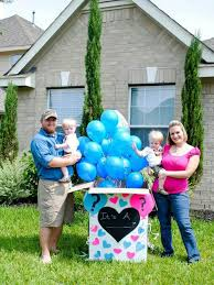 gender reveal balloons in a box our olive tree gender reveal for baby