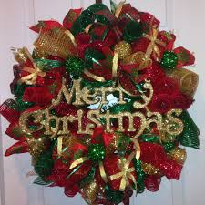 red green gold christmas curly loop deco mesh wreath christmas