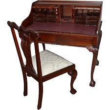 Secretary Style Desk by Chippendale Style Mahogany Secretary Desk And Chair From K