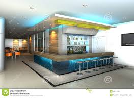 home design 3d ceiling height modern interior with 3d counter bar royalty free stock photo